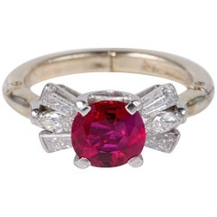Regal Certified 1.62 Carat Burmese Ruby Diamond Ring