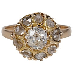 Victorian 1.55 Carat Diamond Rare Cluster Ring
