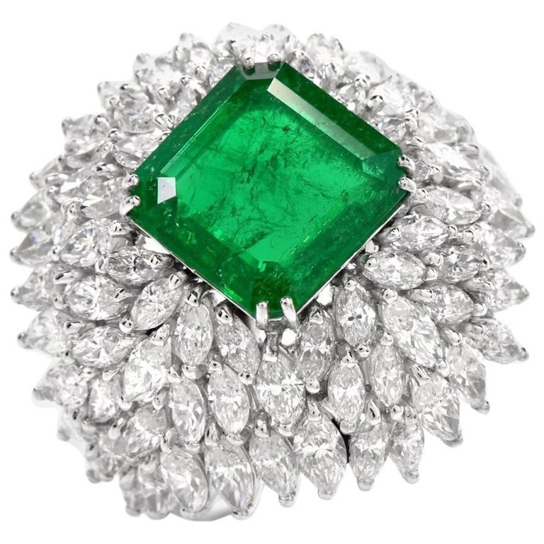 1960s Vintage Diamond Emerald Platinum Cocktail Dome Ring