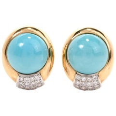 1960s Persian Turquoise Diamond 18 Karat Gold Clip-Back Earrings