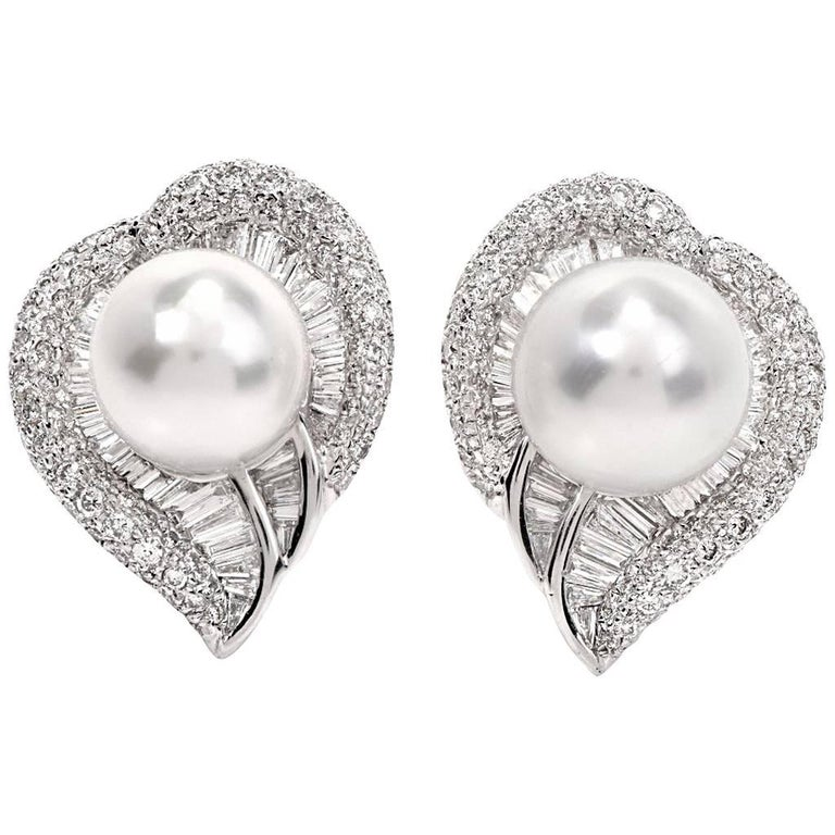 South Sea Pearl Diamond 18 karat Gold Fancy Heart Cluster Earrings