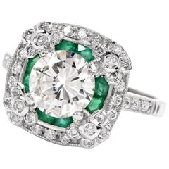 Diamond Emerald Platinum Engagement Ring