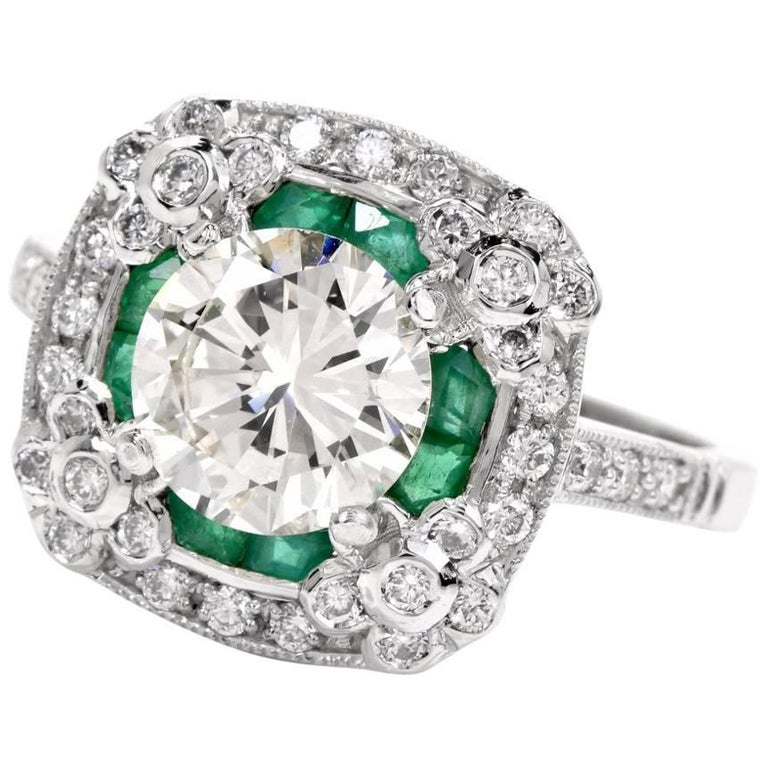 Diamond Emerald Platinum Engagement Ring For Sale
