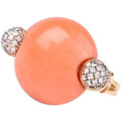 Natural Coral Dimaond 18K Gold Cocktail Ring