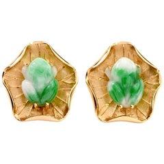 1960s Vintage Jade 18 Karat Yellow Gold Frog Men's Cufflinks