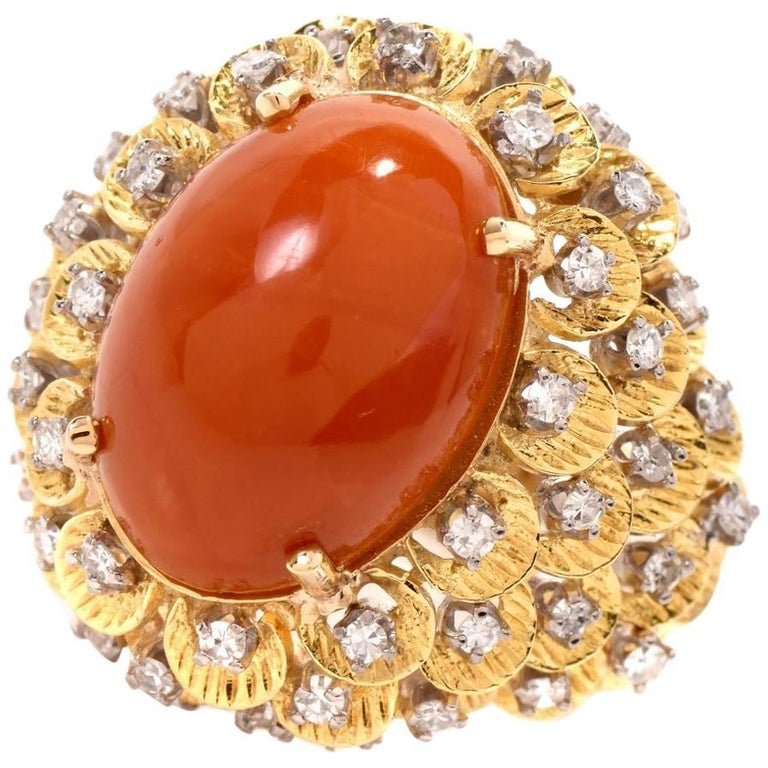 1970s Red Coral 18 Karat Yellow Gold Dome Cocktail Ring