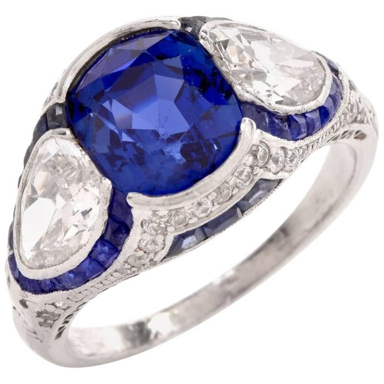 Antique Art Deco No-Heat Ceylon Sapphire Diamond Platinum Ring