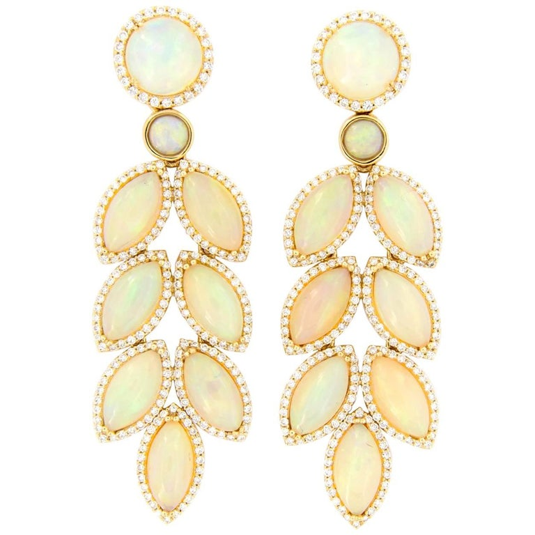 Goshwara Opal Diamond Dangle Drop Earrings