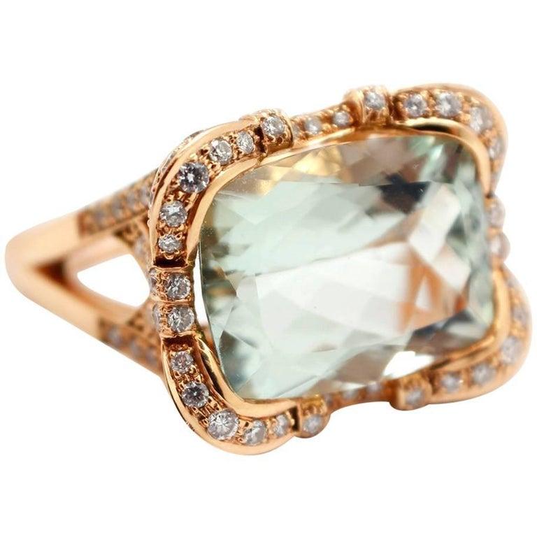 Prasiolite and Diamond Fashion Ring 18k Rose Gold