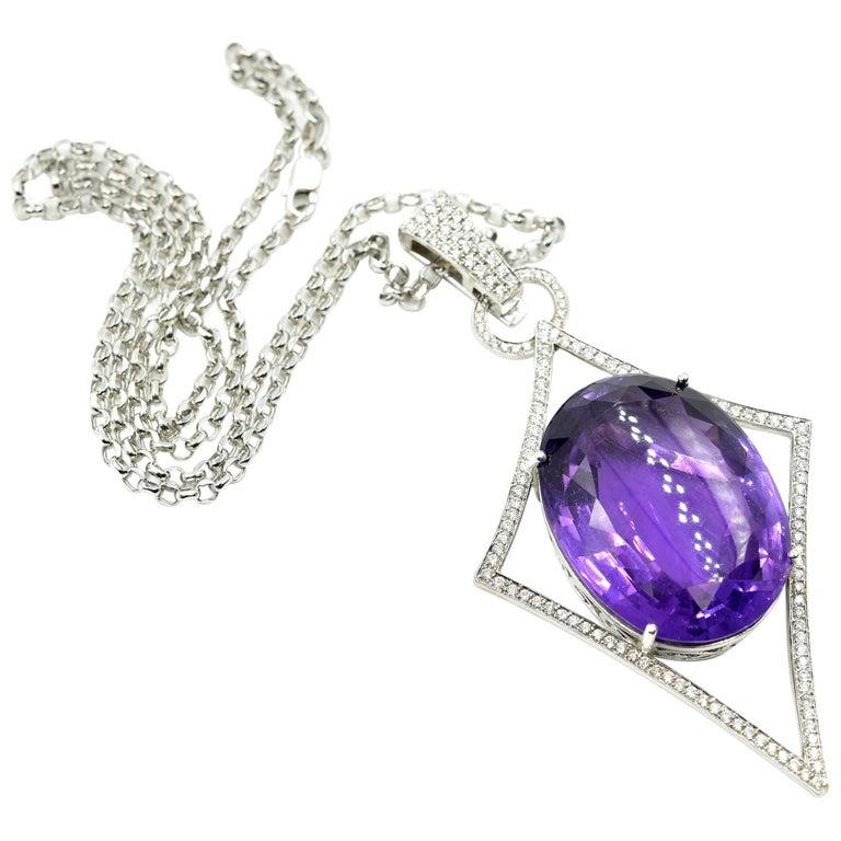 Oval Amethyst, Pave Set Round Diamond, 14 Karat Gold Navette Pendant Necklace For Sale