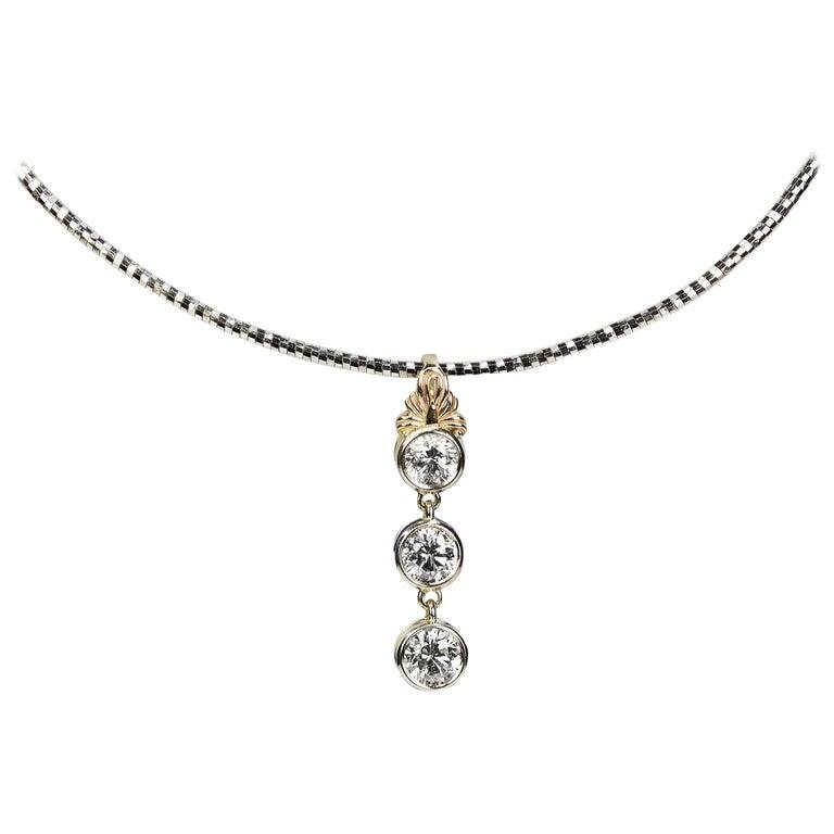Two-Tone Gold Three Diamond Necklace