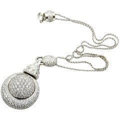 Diamond Ball Pendant 18k White Gold Necklace