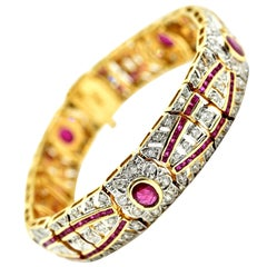 Yellow Gold, 3.10 Carat Diamond and 9.75 Carat Ruby Bracelet