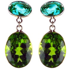 8.44 Carat of Blue Zircon and 15.36 Carat of Peridot 18 Karat Gold Earrings