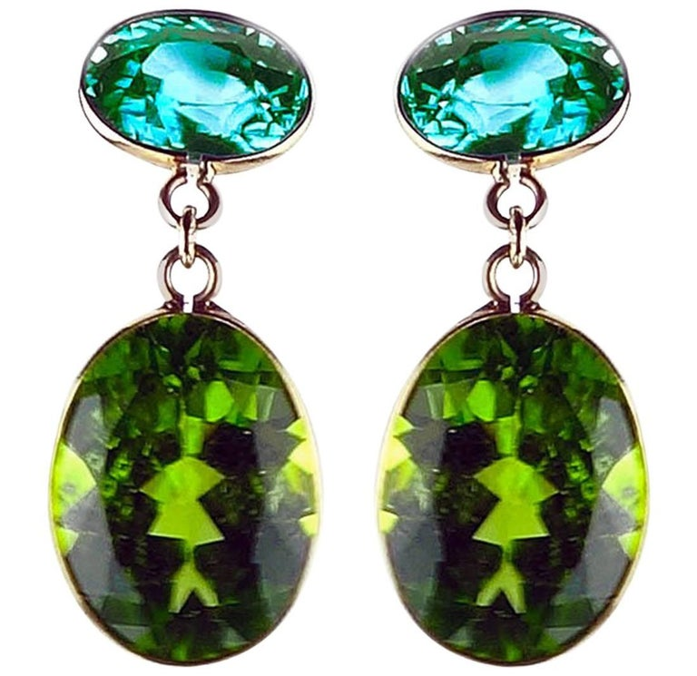 8.44 Carat of Blue Zircon and 15.36 Carat of Peridot 18 Karat Gold Earrings