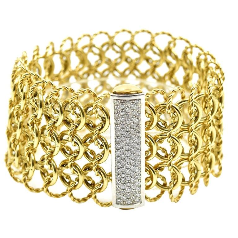 David Yurman Diamond Quatrefoil 18k Yellow Gold Bracelet