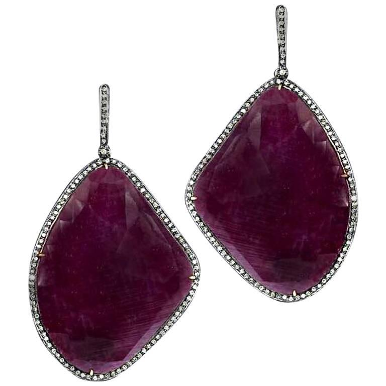 Victorian Style Ruby and Diamond Dangling Earring