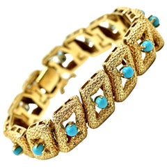 Textured Yellow Gold and Persian Turquoise Vintage Bracelet