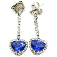 14 Karat White Gold, Diamond and GIA Heart-Cut Sapphire Dangle Earrings