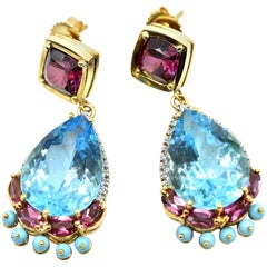 Diamond, Pink Tourmaline, Turquois and Blue Topaz Earrings