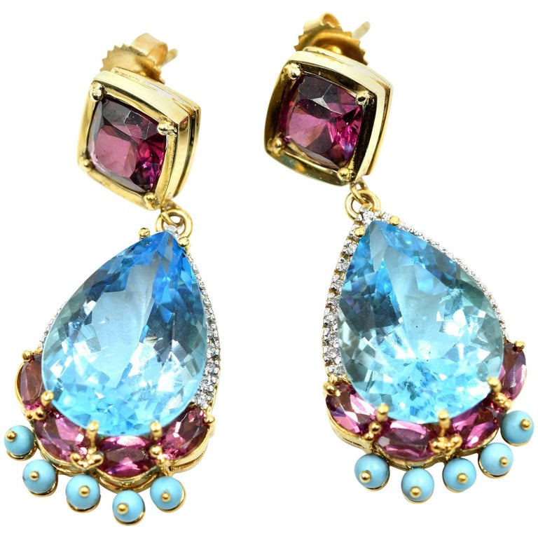 Diamond, Pink Tourmaline, Turquois and Blue Topaz Earrings