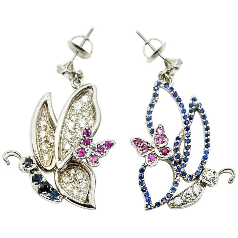 Blue and Pink Sapphire Butterfly Earrings with Diamonds