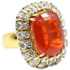 Mexican Fire Opal and Diamond Cocktail Ring
