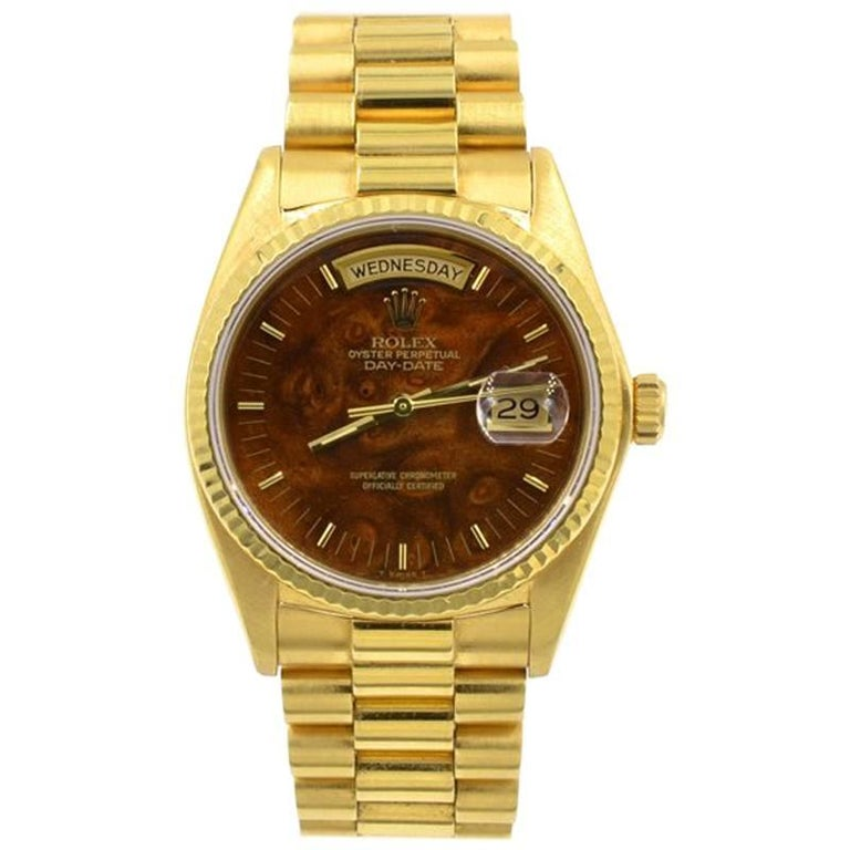 Rolex yellow Gold President Wood Dial Day Date Wristwatch, Ref 18038