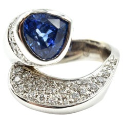 Blue Trilliant Sapphire and Diamond Wrapping Cocktail Ring