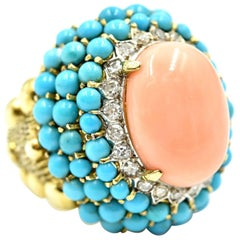 Diamond, Turquoise and Red Coral Cocktail Ring