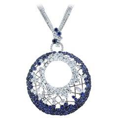 Diamond Sapphire Gold Webb Pendant Necklace