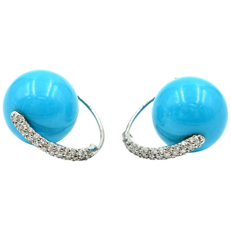 Sky Blue Turquoise Ball Earrings With Diamond Set Accents For