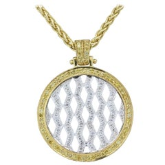 Neil Joseph White Diamond Fancy Yellow Diamond Two-Tone Gold Pendant Necklace