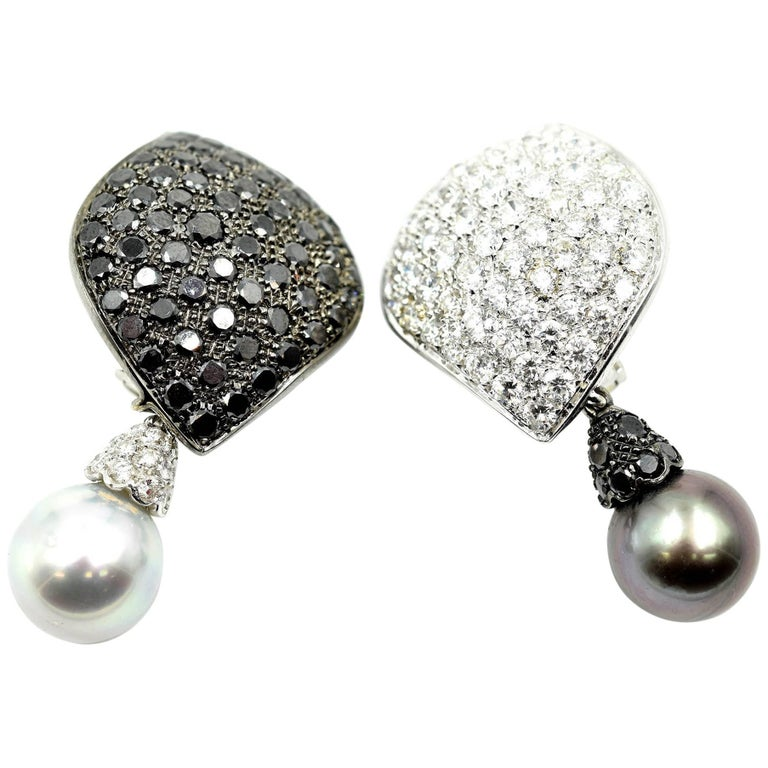 Black and White Diamond with Dangling Cultured Pearls 18k White Gold Earrings