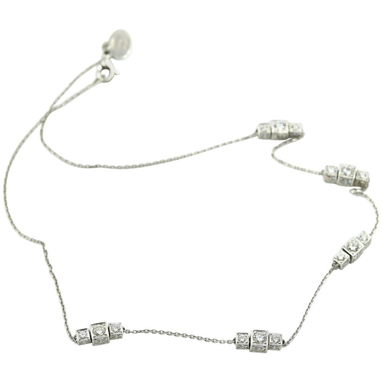 """Michael B"" Diamond Sugar Cube Station Necklace For Sale"