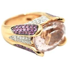 Rose Gold Morganite and Diamond 0.62 Carat Fashion Ring