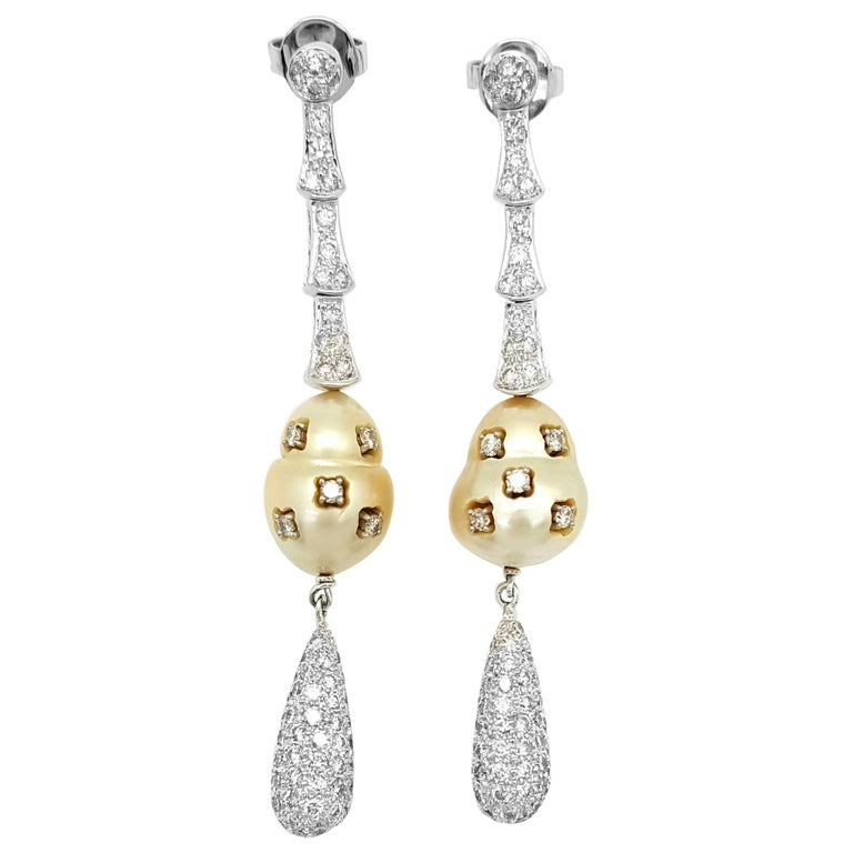 Golden South Sea Pearl and Diamond Dangle Earrings