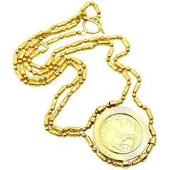 22 Karat Yellow Gold $50 US Coin Pendant Necklace 115.0 Grams