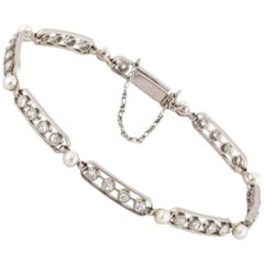 Platinum Edwardian Diamond Pearl Bracelet