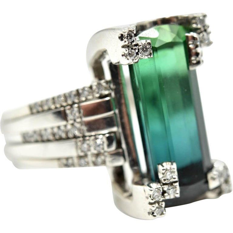 Green Tourmaline and Diamond Cocktail Ring