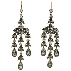 Diamond Silver Yellow Gold Dangle Earrings, Victorian Antique