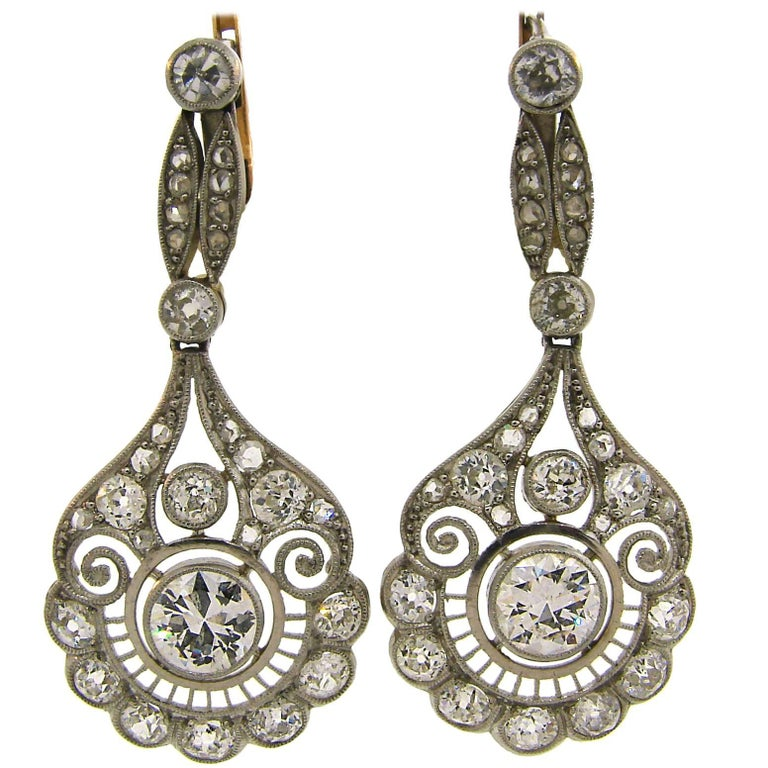 Diamond Platinum Dangle Earrings, Art Deco