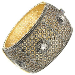 Gold and Silver Diamond Cuff Bracelet