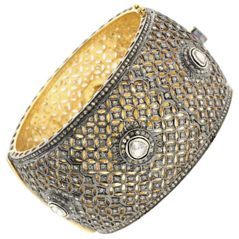 Gold and Silver Diamond Cuff Bracelet
