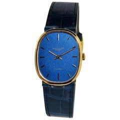 Patek Philippe Yellow Gold Ellipse Blue Dial Manual Wind Watch