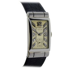 Hamilton Platinum Art Deco Diamond Baguette Dial Manual Wind Wristwatch