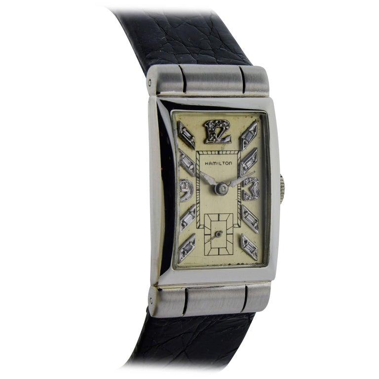 Hamilton Platinum Art Deco Diamond Baguette Dial Manual Wind Watch
