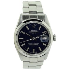Rolex Stainless Steel Oyster Custom Blue Dial Perpetual Wind Watch c1968
