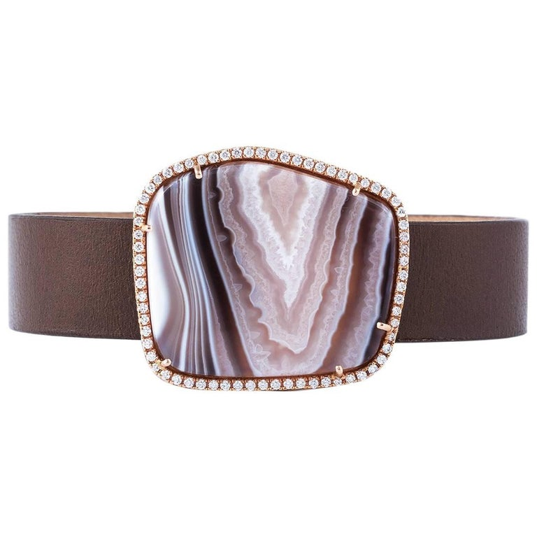 Karolin Agate White Diamond Rose Gold Bangle