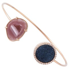 Karolin Agate Geode Bangle White Diamond Rose Gold Bracelet